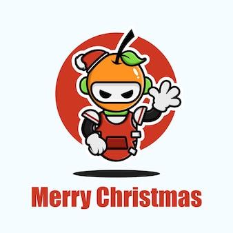Süße orange, die weihnachten feiert