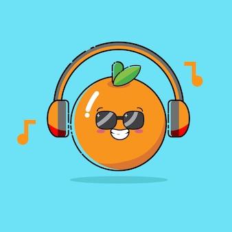 Süße orange mit kopfhörern