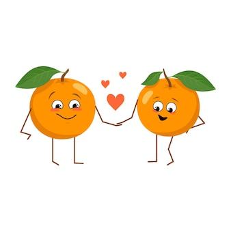 Süße orangen-charaktere mit emotionen, die lustigen oder glücklichen helden-orangenfrüchte verlieben sich ineinander