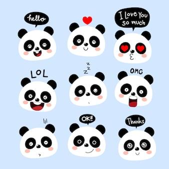 Süße panda zeichentrickfigur