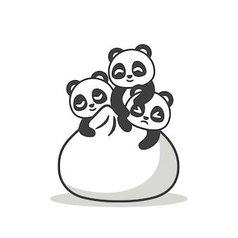 Süße pandas mit einem großen knödel