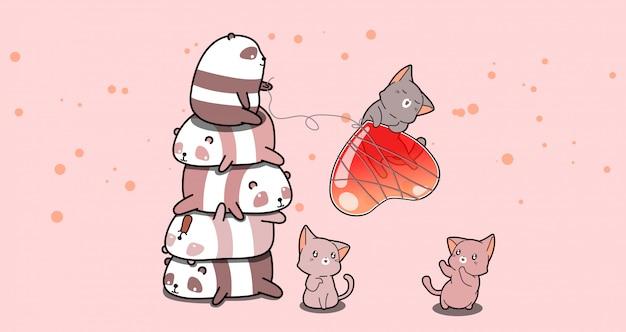 Süße pandas und katze mit herz