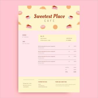 Süße pastell-café-rechnung