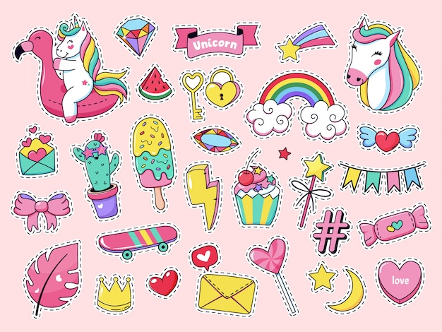 Süße patch-abzeichen. magic fashion doodle patches, märchenhaft rosa regenbogen einhorn, eis und süße süßigkeiten illustration icon set. cartoon mädchen aufkleber, fee tier einhorn eis