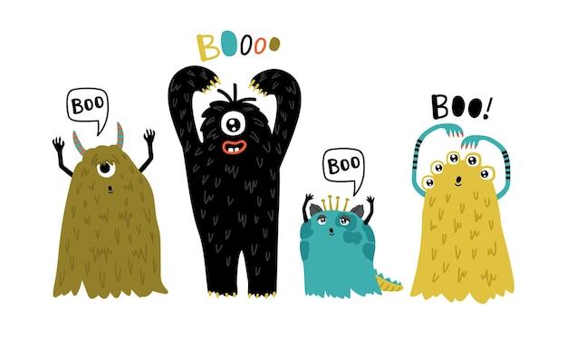 Süße pelzige kreaturen. lustige monster der karikatur, humorcharaktere für maskottchen, vektorillustration von kleinen pelzigen symbolen des horrors einzeln auf weißem hintergrund