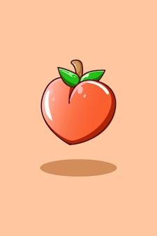 Süße pfirsich-symbolfrucht-cartoon-illustration
