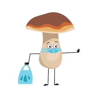 Süße pilzfigur mit traurigen emotionen, gesicht und maske halten abstand, hände mit einkaufstasche und stoppgeste. ein lustiges gesundes gesundes essen, waldpflanze