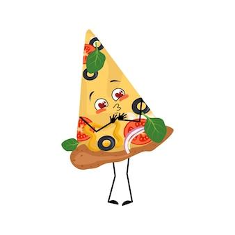 Süße pizzafigur verliebt sich in augenherzen küssen gesicht arme