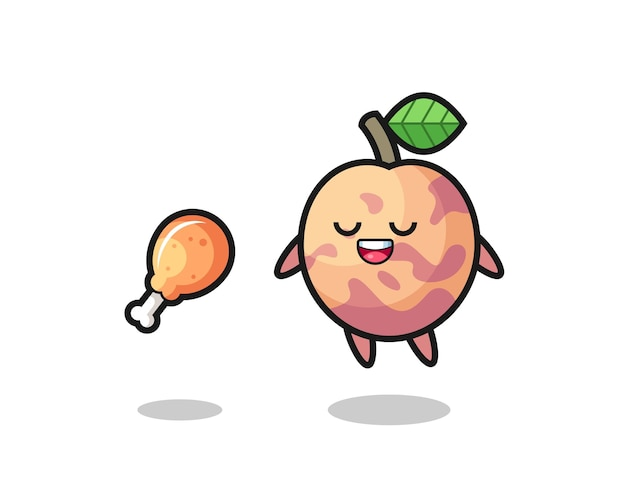 Süße pluot-frucht, die wegen gebratenem hühnchen schwimmt und versucht, süßes design für t-shirt, aufkleber, logo-element
