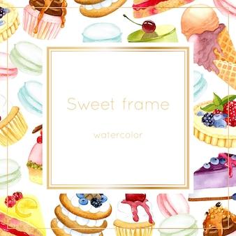 Süße rahmenaquarellillustration
