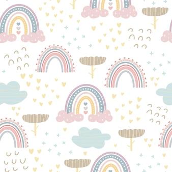 Süße regenbogenmuster und schriftzüge genießen jeden moment kreativer kindlicher druck für stoffverpackungen