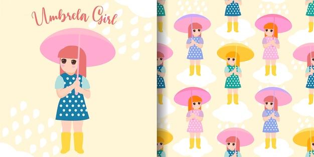Süße regenschirm mädchen nahtlose muster
