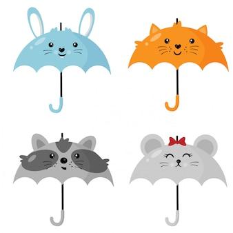 Süße regenschirme in form von tieren.