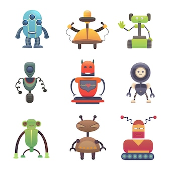 Süße roboter. stellen sie die roboter-vectoor-illustration ein