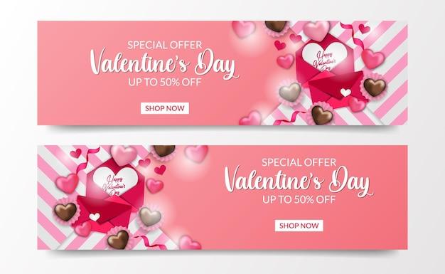 Süße romantikillustration mit cupcake-liebesherz und rosa umschlag für valentinstag-verkaufsangebot-bannerschablone