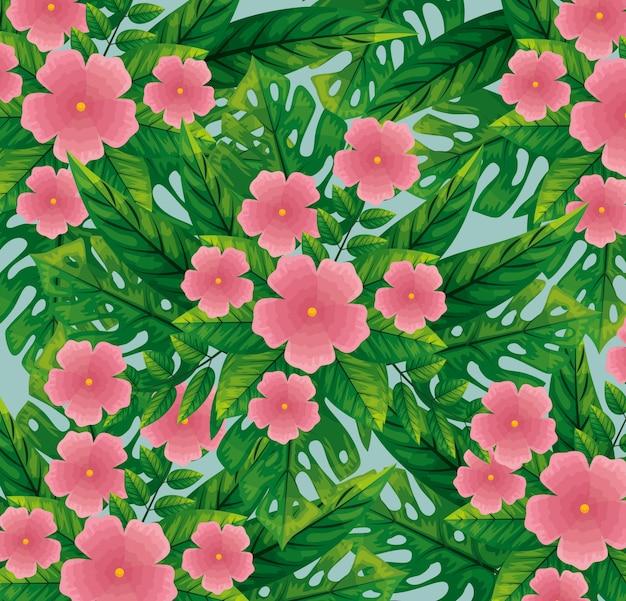 Süße rosa blüten mit blättern