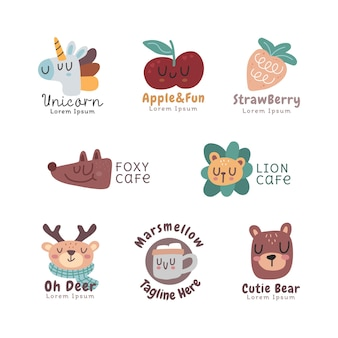 Süße sammlung des skandinavischen logos isoliert