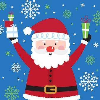 Süße santa, weihnachten charakter mit schneit