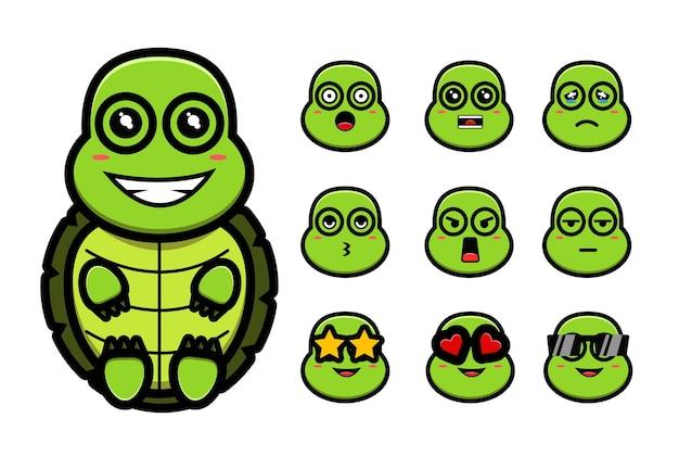 Süße schildkröte in vielen ausdrucksset maskottchen cartoon