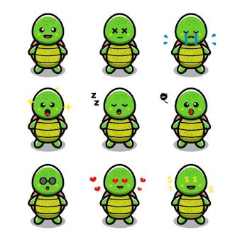 Süße schildkröte mit unterschiedlichem ausdruck