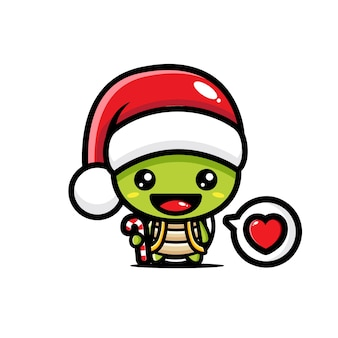 Süße schildkröte mit weihnachtsmütze