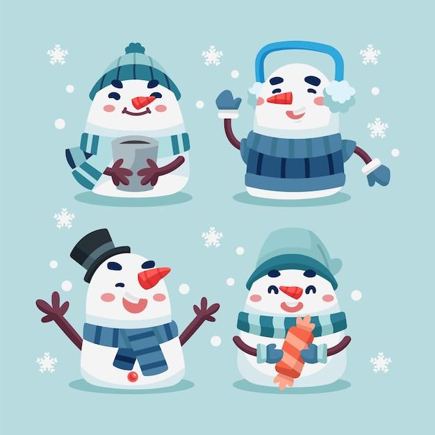 Süße schneemann-sammlung des winters