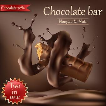 Süße schokoriegel mit geschmolzener schokolade