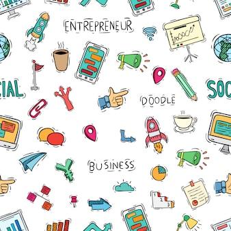 Süße schule icons sammlungen in nahtlose muster mit doodle-stil