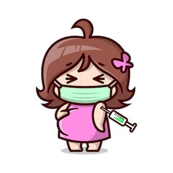 Süße schwangere mutter trägt maske und wird geimpft hochwertige cartoon-illustration