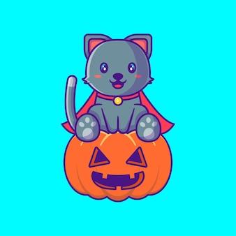 Süße schwarze katze mit kürbis glückliche halloween-cartoon-illustrationen