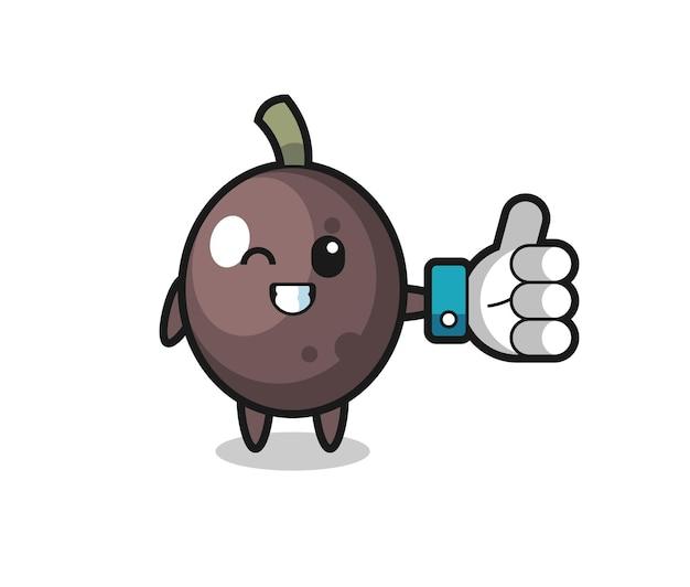 Süße schwarze olive mit social-media-daumen hoch symbol, süßes design für t-shirt, aufkleber, logo-element