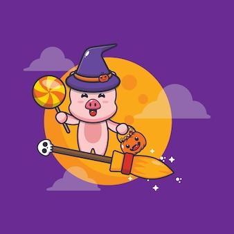 Süße schweinhexe fliege mit besen in halloween-nacht süße halloween-karikaturillustration