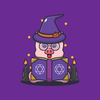 Süße schweinhexe liest zauberbuch süße halloween-karikaturillustration
