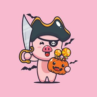 Süße schweinpiraten mit schwert tragen halloween-kürbis süße halloween-cartoon-illustration