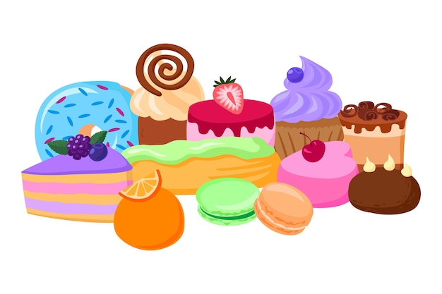 Süße set backwaren delikatesse, dessert lebensmittelkuchen