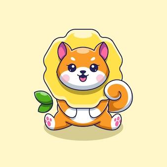 Süße shiba inu sonnenblumenkarikatur