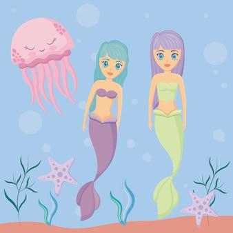 Süße sirenen mit tintenfisch und seestern