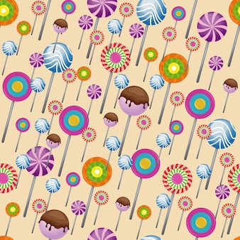 Süße snack seamless pattern süßigkeiten lollipop wallpaper
