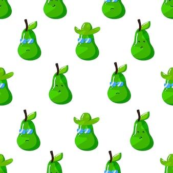 Süße sommer-avocado-cartoon-figur mit flachem, handgezeichnetem nahtlosem muster