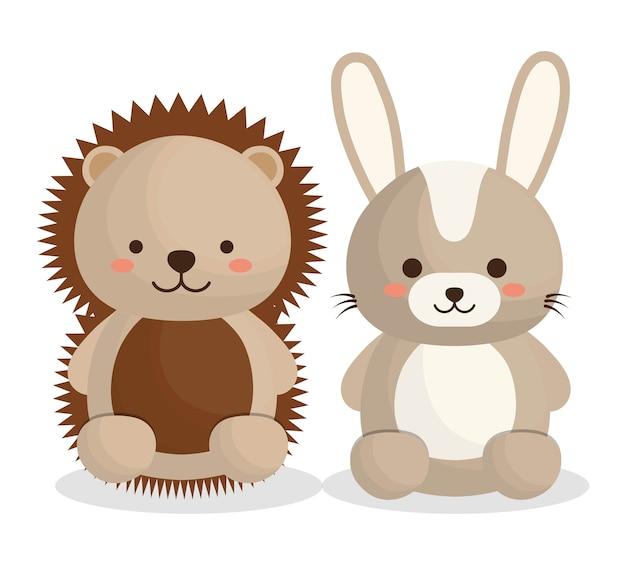 Süße stachelschwein und kaninchen tiere symbol