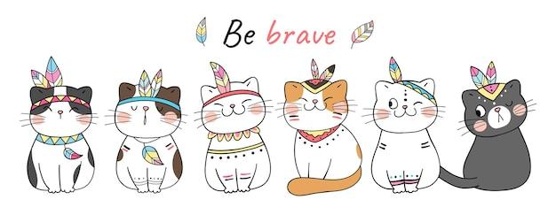 Süße stammeskatze sei mutig doodle cartoon