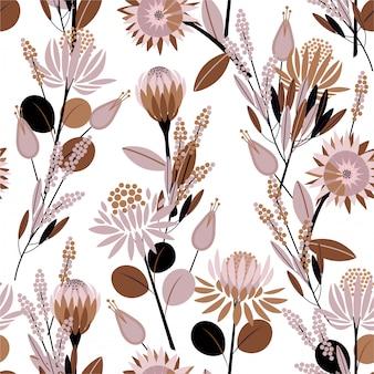 Süße stimmung des nahtlosen musters in blühenden proteablumen der weinlese im garten voll von pflanzen entwerfen für mode, die tapete und wickeln ein
