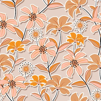 Süße stimmung von niedlichen wildblumenmusterblumen. botanische motive mit schatten verstreut.