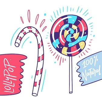 Süße süße lollypops. hand gezeichnete karikaturart.