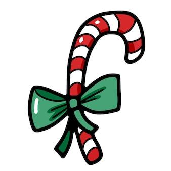 Süße süße weihnachtszuckerstange mit band