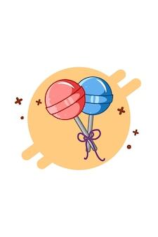 Süße süßigkeiten essen cartoon illustration