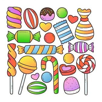 Süße süßigkeiten gekritzelillustration