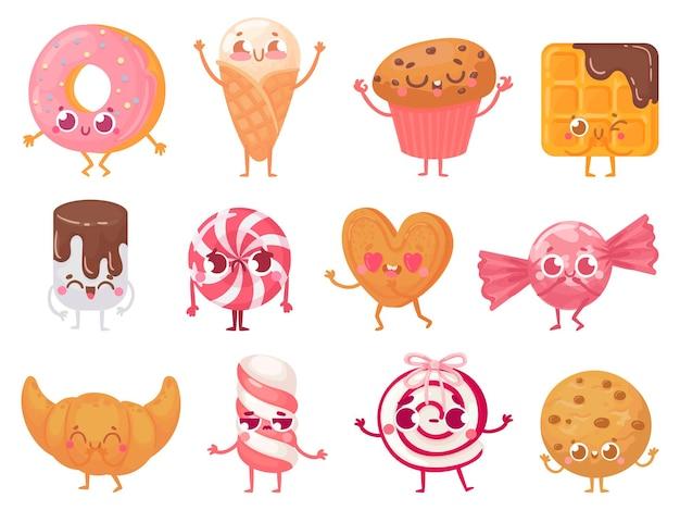 Süße süßigkeiten. glückliches cupcake-maskottchen, lustiger süßer süßigkeitscharakter und lächelnder donut.