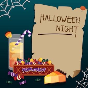 Süße süßigkeiten halloween-rahmens. halloween-vorlage.