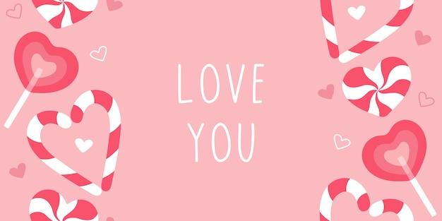 Süße süßigkeiten lieben dich. moderner partyflieger mit rosa abdeckungsentwurf.